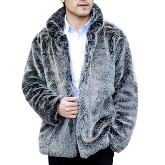 Mens Faux Fox Fur Coat Stand Collar Thick Warm Furry Jacket