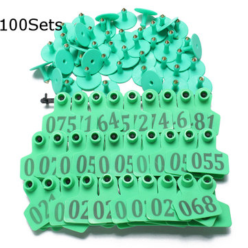 100Sets Green Animals Cattle Goat Pig Sheep Use Ear Number Tag Livestock Tags Labels