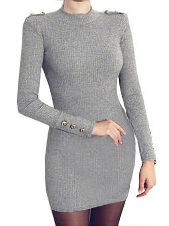 Sexy Knit Solid Color Gold Buckle Bodycon Women Above Knee Dress