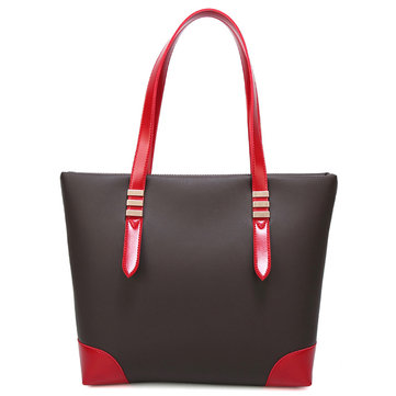 Women Casual Pu Leather Handbag Patchwork Tote