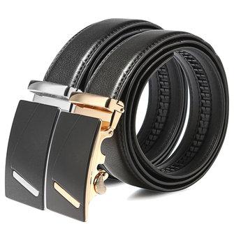 115CM Men Belt Second Floor Cowhide Gold Silver Alloy Automatic Business Buckle Pants Strap