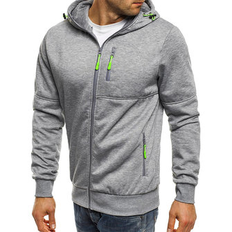 Men's Cotton Fashion Zipper Decoration Fit Hoodies Casual Long Sleeve Sweatshirts