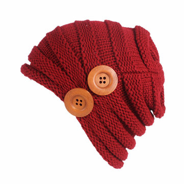 Winter Outdoor Warm Knitted Beanies Hat Button Adjustable Elastic Bonnet Hat For Women