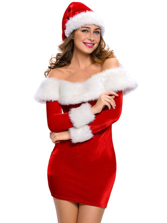 Slim Women Off Shoulder Christmas Cosplay Uniform Long Sleeve Mini Dress