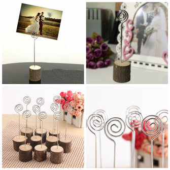 10PCS Wooden Wedding Table Place Number Menu Photo Holders Wire Hardwood