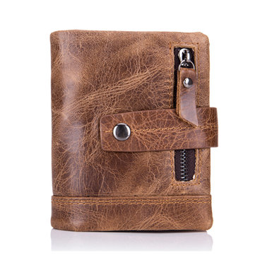 Bullcaptain Wallet Men Real Leather Coin Bag Tri-fold Wallet