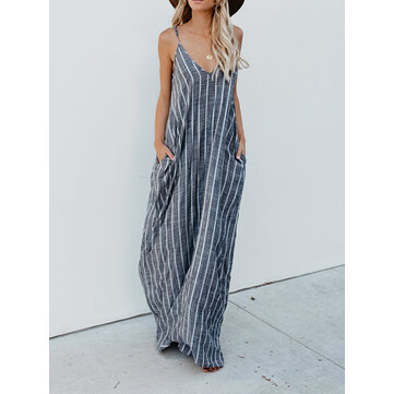 S-5XL Women Casual Spaghetti Straps Striped Cotton Long Maxi Dress
