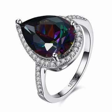 Sweet Wedding Ring Fashion Platinum Plated Water Drop Rainbow Zircon Women Finger Ring