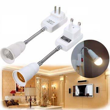 E27 Wall Light Bulb Lamp Flexible Extension Adaptor On/Off Switch UK/US Plug