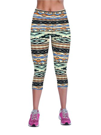 19 Couleurs Femmes Haute taille Impression Stretch Workout Capri Leggings