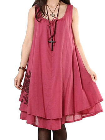 Casual Bow Embroidery Sleeveless Linen Mini Sundress For Women