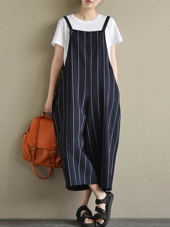 Loose Striped Sleeveless Pockets Wide Leg Jumpsuit For Women