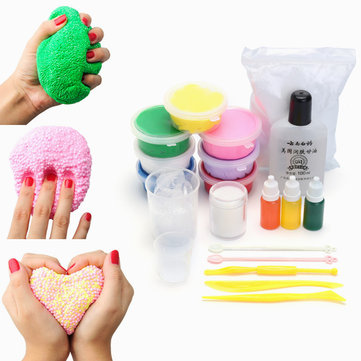DIY Slime Kit Snow Mud Clay Plasticine Styrofoam Beads Balls White Floam Toy Gift
