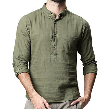 Men's Solid Color Long Sleeved Loose Breathable T-Shirts
