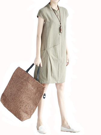 Casual Women Short Sleeve Pocket Loose Stand Collar Dresses