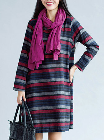 Casual Loose Women Striped O-Neck Knee-Length Dress with Sleeves