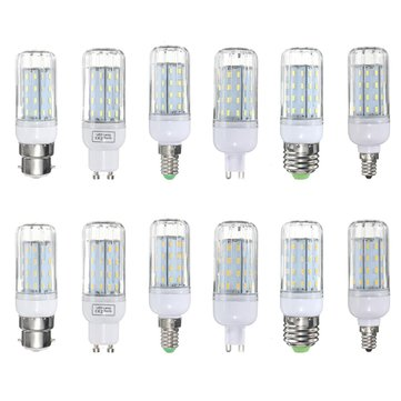 E27 E14 E12 B22 G9 GU10 6W 56 SMD 4014 LED Warm White White Cover Corn Light Lamp Bulb AC 220V