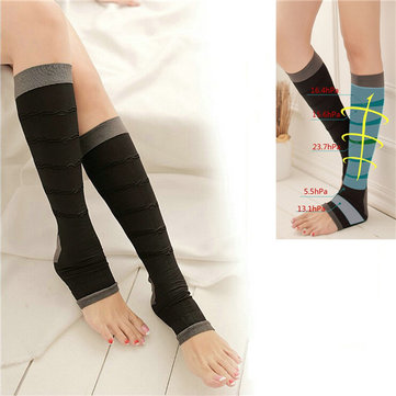 Soothe Varicose Veins Compression Sock Stocking High Knee Sleep Leg Slimming Black