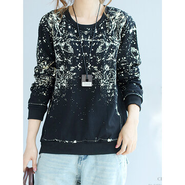Casual Print Loose O-neck Long Sleeve Women Sweatshirt
