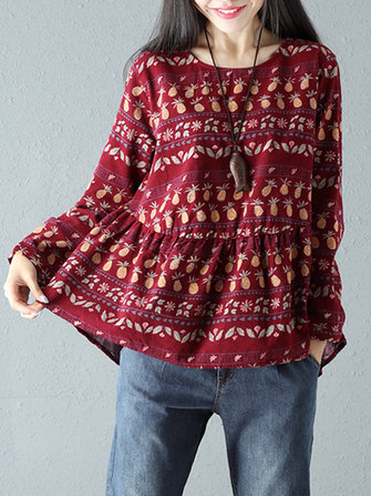Floral Printed Women Ruffled Blouse