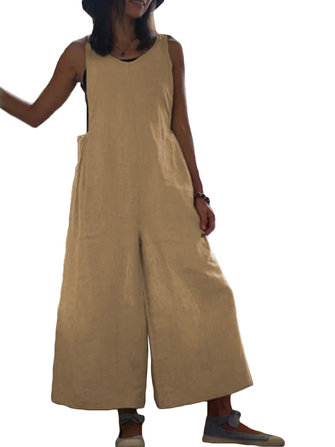 Wide Leg Women Cotton Pure Color Sleeveless Jumpsuit