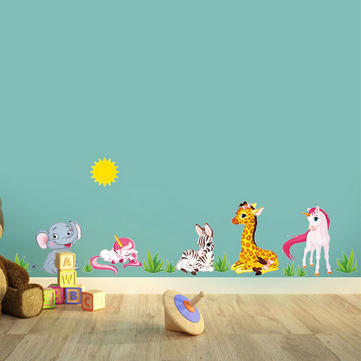 Children Kids Room Zoo Giraffe Elephant Animal DIY Removable Wall Sticker Decal Art Home Decoration
