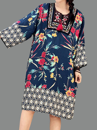 Women Vintage Ethnic Style Long Sleeve Floral Dress