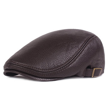 Unisex Mens PU Leather Beret Hat Flat Cabbie Newsboy Cap