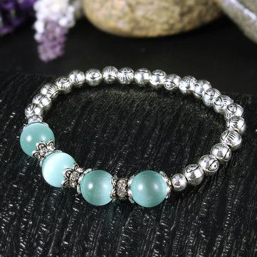 Blue Crystal Beads Simple Silver Eye Beads Bracelet Elastic Bracelet For women