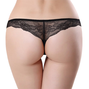 Hot Sexy Women Lace Back Seamless Thong Solid Color Low Rise Panties