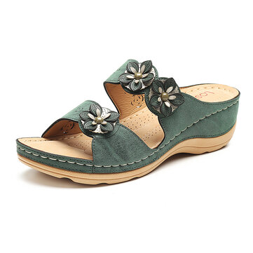 LOSTISY Flowers Slip On Soft Casual Wedge Sandals