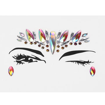 3D Acrylic Facial Decoration Rhinestone Stage Masquerade