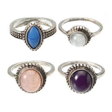 4 Pcs Bohemian Retro 4 Color Round Resin Ring Set Jewelry for Women