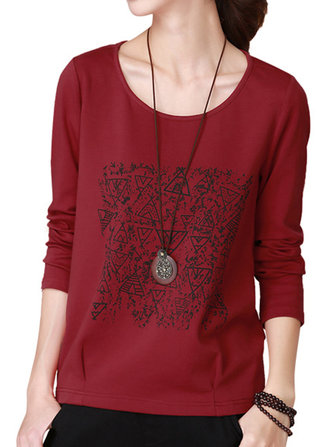Casual Print Ruched Long Sleeve Women T-shirt Sweatshirt