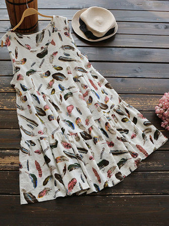 Women Sleeveless Loose Feather Print Long Shirt Dress