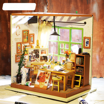 Robotime DIY Dollhouse Ada Studio Paint Art Doll House Gift Collection Assembly Model
