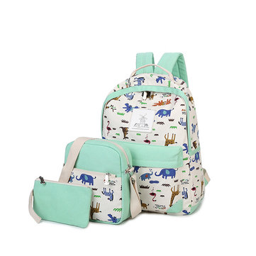 3 Pcs Korean Fashion Canvas Backpack Animal Prints School Bag Casual Multifunctional Travel Bag Backpack