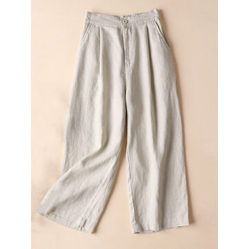 Casual Women Cotton Linen Solid Color Pants