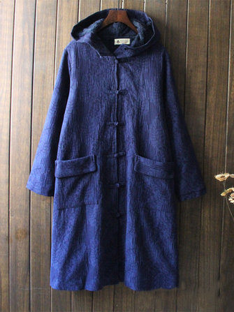 Vintage Women Single Breasted Solid Color Hooded Velvet Coat