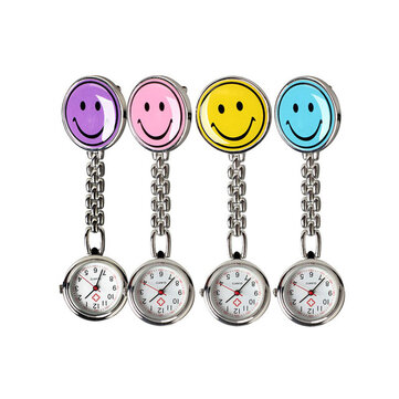 Portable Charm Smile Face Stainless Steel Nurse Watch