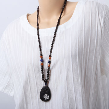 Buddhist Prayer Beads Necklace Ethnic Lotus Ebony Blackwood Pendant Necklaces Jewelry for Women Men