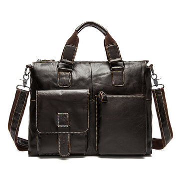 Men Leather Travel Luggage Bag Business Laptop Shoulder Messenger Handbag Briefcase Portfolio