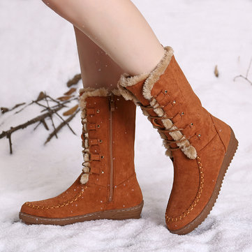 LOSTISY Winter Lining Warm Lace Up Zipper Mid-calf Boots For Women