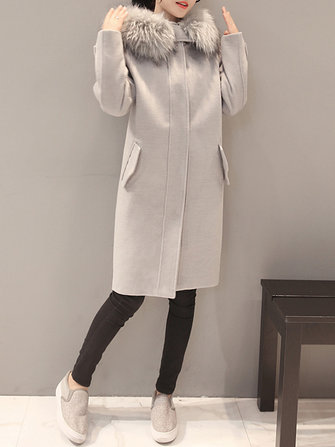 Elegant Women Faux Fur Hooded Thicken Woolen Mid-long Coats