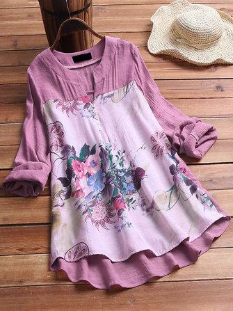 Women Casual Cotton Linen Floral Print Long Sleeve Blouse