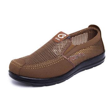 الرجال مريحة نمط بكين القديمة Soft الوحيد شبكة أوكسفورد الانزلاق على أحذية