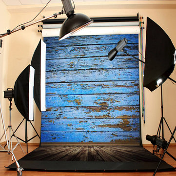 3X5FT Retro Wood Floor Blue Board Studio Photo Photography Background Backdrop