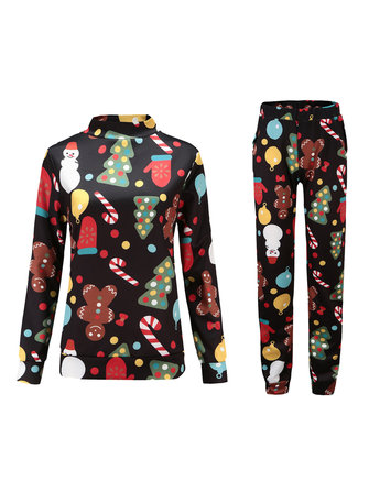 Women Long Sleeve Christmas Tree Snow Print T-shirts and Pants Sets