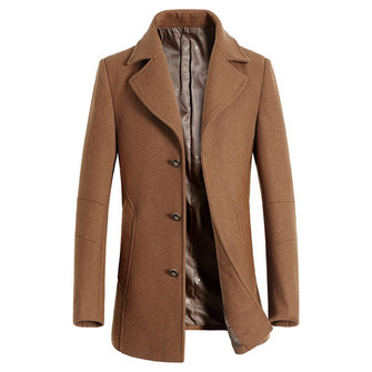 Woolen Jacket Notch Collar Business Stylish Overcoat