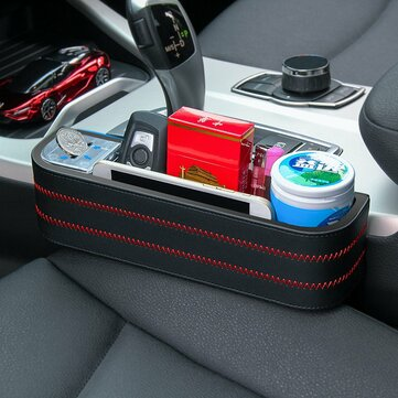 Universal Leather Car Seat Gap Storage Box Pocket Organizer Phone Holder with Coin Box